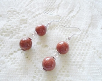 Double Gold stone dangle earring, Gemstone silver earring, Available in nine colors