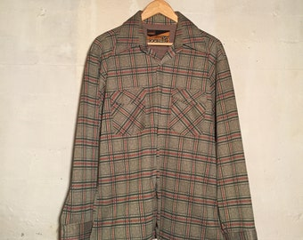 1970s Polyester Green/Red/Grey Plaid Button Down Shirt by Montgomery Ward
