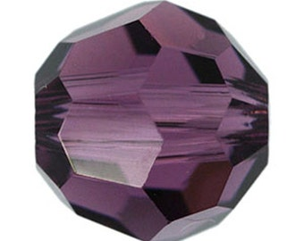 8mm Round Swarovski Crystal Amethyst Beads (package of 12 beads)