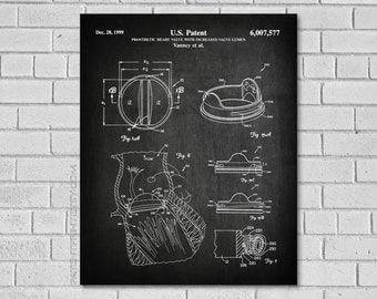 Heart Valve Patent Print  - OHS - Open Heart Surgery Patent - Patent Art - Vanney Prosthetic Heart Valve - Historical Print - Patent CM577