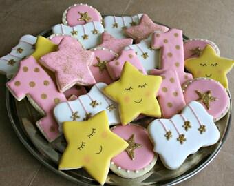 Twinkle Twinkle Little Star Cookies-Twinkle Little Star Birthday Cookies