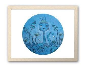 Blue Cat Artwork | Instant Digital Print Download | Full Colour Original Mixed Media Design