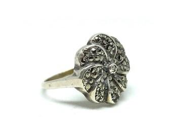 Vintage Art Deco Ring | Vintage Silver Ring | 1930's Ring | Silver Ring | Marcasite Ring | Flower Ring | Floral Ring | Art Deco Ring
