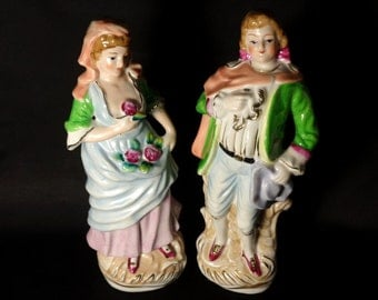 Vintage MOJAE China Victorian/Colonial Man and Woman Figurines