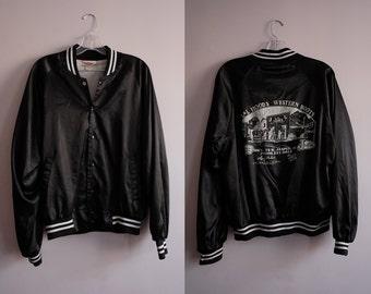 "80s ""Lil Hood's"" Black Bomber Jacket"