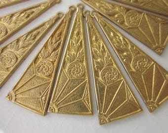 11 Brass Charms, 38mm x 9mm Long Triangle with Art Nouveau Floral Design