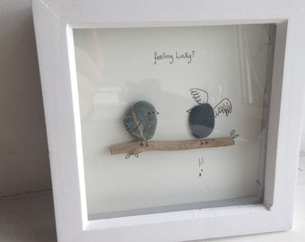 feeling lucky?  funny quote, your strange but I love you , Medium pebble art, sea glass, song birds, wall birds, red heart.