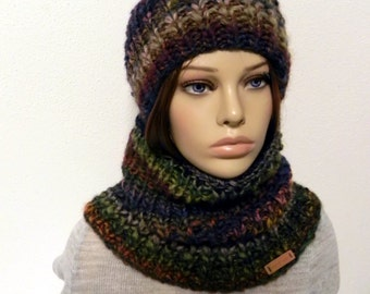 BOBBLE HAT * Beanie * SCARF * LOOP * set 2 piece SWL * chunky knit chunky hand-knitted wool
