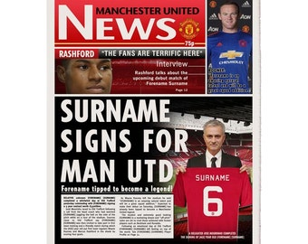 Personalised Manchester United FC Newspaper