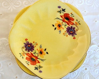 vintage yellow floral plates set of six small yellow Golden Glow plates