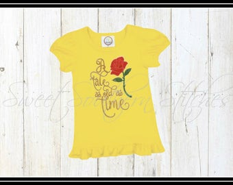 Girls Beauty Shirt / EMBROIDERED / Tale As Old As Time Tee / Beauty Rose Tee / Girls Ruffle Tee