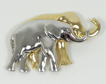 Elephant Brooch Gold Tone and Silver Tone