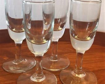 Vintage Set of 4 French Hand Blown Bistro Aperitif/Shot Glasses