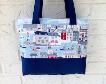 nautical tote bag blue fabric handbag handmade purse nautical bag blue shoulder