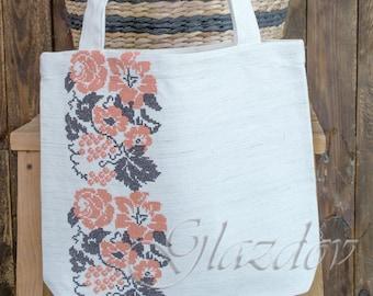 Linen tote bag. Shopping bag. Eco bag. Natural Linen Bag. Handbag, Bag. Women tote. Gift for her.