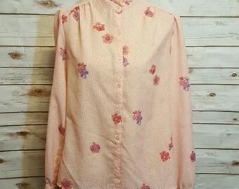 60's Polka dot paisley pink blouse, Medium/Large