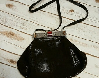 70's James Culver Moulin Rouge leather purse/ cross-body
