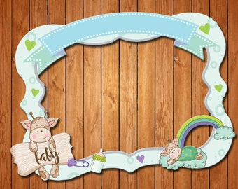 Cow  themed babyshower party photo frame