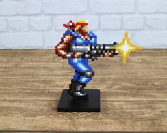 Contra 3 Pixel Art, Perler Beads, 8 Bit, Gamer Gift, Game Art, Bill Rizer