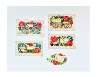Five Antique Calling Cards or Gift Cards, c. 1909, Vintage