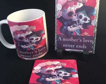 Gothic motherday gift set sugar skull mum set cup mug coffee mug