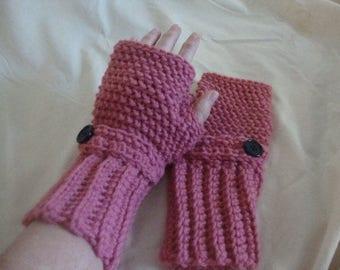 Pink Fingerless Gloves, Adult Pink Fingerless Gloves, Rose Colored Fingerless Gloves, Adult Rose Fingerless Gloves, Adult Wristers,