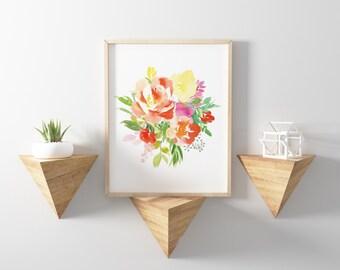 Printable Art - Watercolor Flowers - Floral Art Print - Tropical Decor - Floral Decor - Digital Download - Floral Watercolor Print - 8x10
