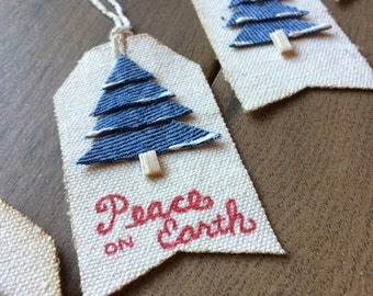 Christmas Gift Tags, Canvas Gift Tags, Denim Gift Tags, Snow Tree Gift Tags, Holiday Gift Tag, Christmas Labels, Personalized Gift Tags