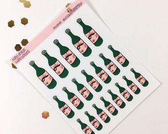 Wine bottle- Hand drawn stickers