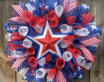 Patriotic Wreath Americana Wreath Memorial Wreath 4th Of