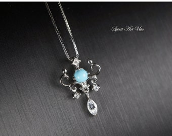 Mini Tiny Turquoise Necklace, Sleepy Beauty Turquoise Pendant, Full Sterling Silver CZ Necklace, Yn047