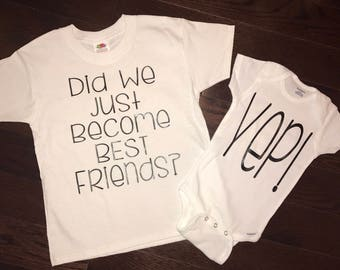 """Did We Just Become Best Friends? and """"YEP!"""" onesies toddler tee t-shirt TWINS sibling newborn gift set of two onesies set"""