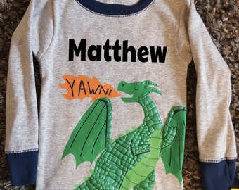 Dragon Sleep Shirt Boys 3D 12 Months Customized With Name Yawn! Cute