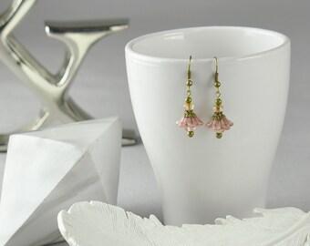 Pink Czech Glass Dangle Earrings