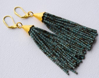 Turquoise Beaded Tassel Earrings, Turquoise Tassel, Beaded Tassel, Tassle Earrings