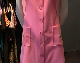 Vintage 1970s Bubblegum Pink Shirt Dress with Pockets - Size Small