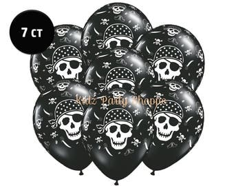 """Pirate Skull & Crossbones 11"""" Latex Balloons [7ct] Pirates Birthday Party Decorations Décor Supplies Centerpiece Backdrop Photo Prop"""