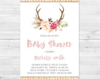 Baby Shower Invitation Girl, Boho Baby Shower Invitation, Tribal, Floral, Flowers, Antler Baby Shower, Watercolor