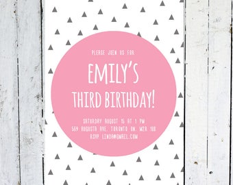 Birthday Invitation Girl, Girl, Birthday Invitation, Geometric, Pink, Grey, Triangle, Modern, Printable, Printed