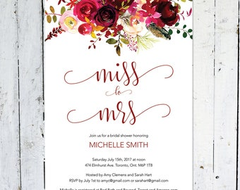 Bridal Shower Invitation, Miss To Mrs., Boho Bridal Shower Invitation,  Maroon, Floral, Printable, Printed, Marsala, Burgundy