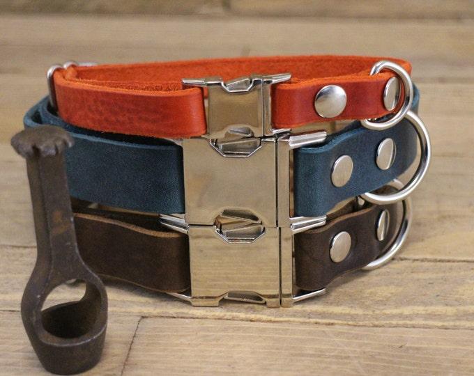 Dog collar, ID address tube, Custom leather collar, Leather dog collar, Gift, Buckle collar, Clasp collar, Small dog's collar.