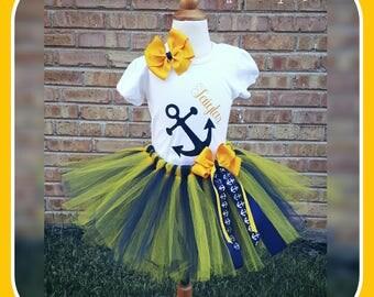 Anchor Tutu Set - Marine inspired TUTU - Blue and Yellow Tutu