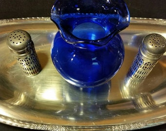 Midcentury Silver plated Tray with COBALT Glass Vase and Silver Plated Filigree Encased Cobalt Glass Salt and Pepper Shakers.