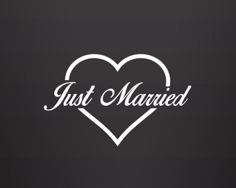 Just Married Heart Decal - Just Married Decal / Wedding Decals / Just Married Car