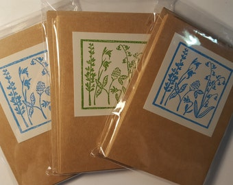 Garden stamped note cards. Pack of five.