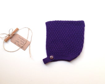 READY TO SHIP - Baby Pixie Bonnet hat 100% cashmere color Purple regal,  hand knit,  size 3-4 years