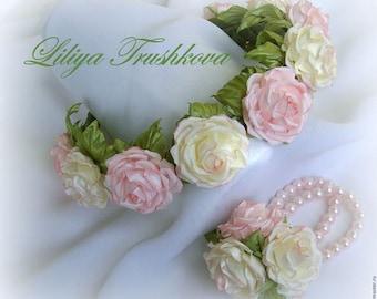 Pink beige rose fabric flower hair accessories Bridal. . Flower girl headband, headband. Girls. Princess