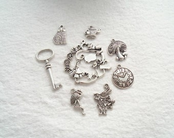 Set of 8 Alice In Wonderland Charms- Lead Free Antique Silver (1622)