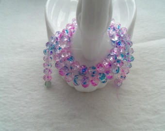 Pack of 6 mm x 8 mm Rondelle Beads, Clear with Fuchsia and Teal (2005)