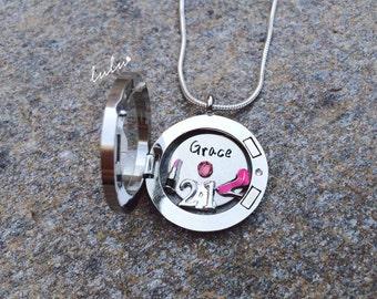 Personalized 21st birthday memory locket necklace - 21st Birthday Gift For Her - Happy birthday custom necklace - Happy 21st floating locket